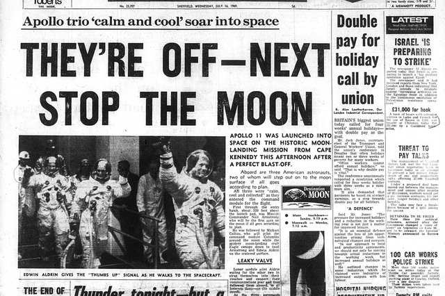 The Star's front page coverage of the start of the Apollo 11 Moon mission in July 1969