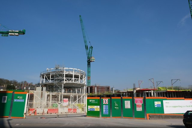 Sheffield University social sciences building under construction again on Whitham Road.