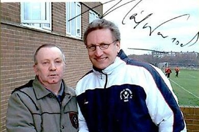 Ken Webster meeting Sheffield United manager Neil Warnock at the Blades' Shirecliffe training ground in 2003