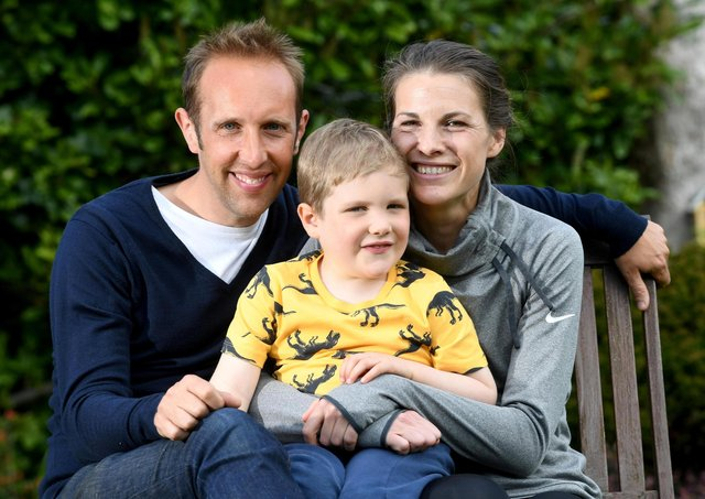 Joshua Collins aged 5 who is diagnosed with Acute Lymphoblastic Leukaemia, pictured with his mum Harriet and dad Ben at their home at Sheffield.