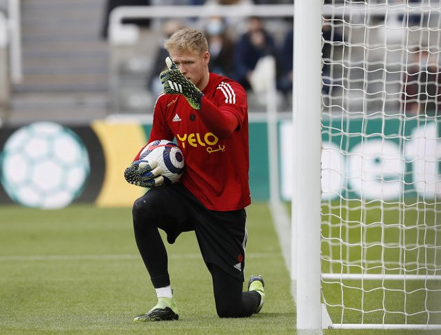 Newcastle, England, 19th May 2021. Aaron Ramsdale of Sheffield Utd warms up during the Premier League match at St. James's Park, Newcastle. Picture credit should read: Darren Staples / Sportimage
