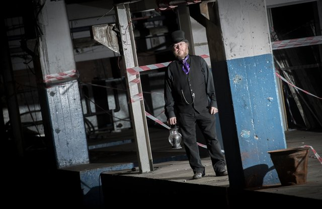 Sheffield ghost expert Mr P Dreadful in the former print works in the old Star building in York Street, where ghosts have been seen over the years