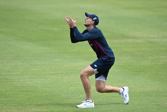Joe Root of England catches a ball during an England Nets Session at Newlands Stadium on November 26, 2020 in Cape Town, South Africa.