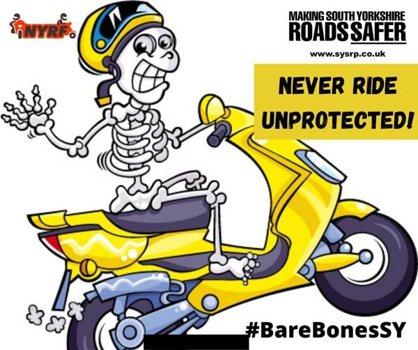 Campaign fronted by a skeleton promoting road safety to Sheffield riders