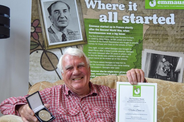 Martin Davies has been presented with the Emmaus UK 30th Anniversary Founders' Medal, marking his 24 years as chairman of the Sheffield charity and his eight year period as trustee as then chair of Emmaus UK itself.