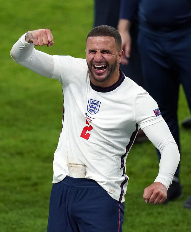 England's Kyle Walker celebrates winning the UEFA Euro 2020 semi final match at Wembley Stadium. Mike Egerton/PA Wire.