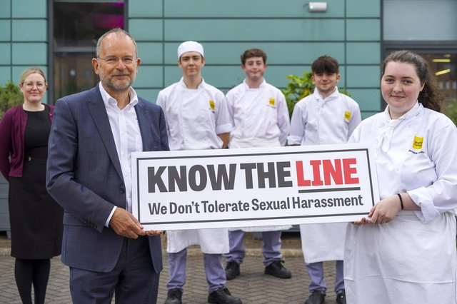 Paul Blomfield MP at Silver Plate who have signed up to the Know The Line campaign. L-R Sara Ody,Paul, Adam Longden, Alessio Costagiliola, Joe Cooper and Jessica Godber. Picture Scott Merrylees