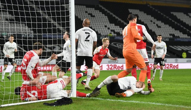 Jamie Lindsay of Rotherham United celebrates after scoring the Millers' goal during the Sky Bet Championship match between Derby County and Rotherham United at Pride Park Stadium. (Photo by Gareth Copley/Getty Images)