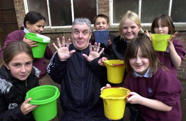17 years ago children at Stradbroke School prepapred to soak teacher Rob Richmond for Children in Need