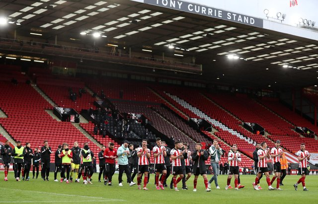 Players of Sheffield United acknowledge the fans following the Premier League match between Sheffield United and Burnley at Bramall Lane . (Photo by George Wood/Getty Images)