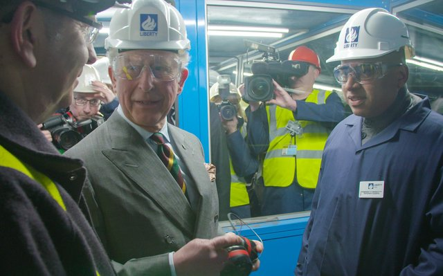 Liberty boss Sanjeev Gupta, right, and Prince Charles on a visit to Speciality Steels in Rotherham.