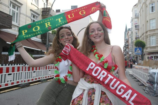 Portugal fans, pictured in Hamburg, enjoy Euro 2020. Photo by Cathrin Mueller/Getty Images