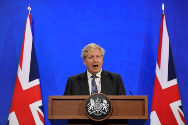 Britain's Prime Minister Boris Johnson holds a news conference amid the coronavirus disease (COVID-19) pandemic at Downing Street