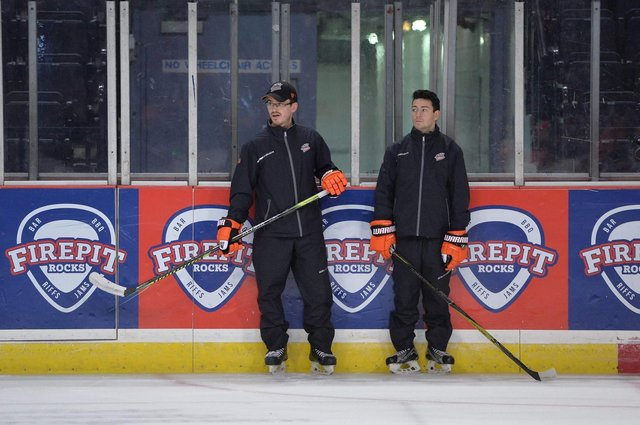 Assistant coach Carter Beston-Wills with conditioning coach Danny Mawer