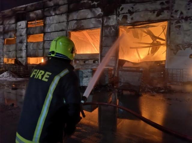 The scene at last night's blaze at Parkwood Road, Neepsend