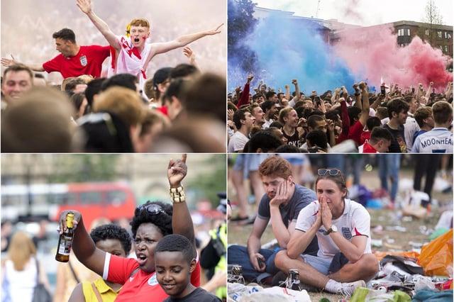 Football fans in Sheffield city centre
