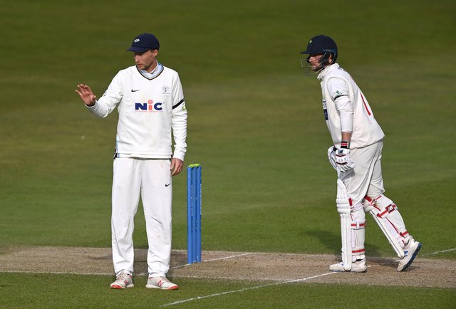 Joe Root in action for Yorkshire against brother Billy, of Glamorgan (Photo by Stu Forster/Getty Images)