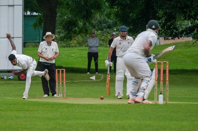 Former Sri Lankan youth international cricketer Anuk Fernando in action for Anston CC.