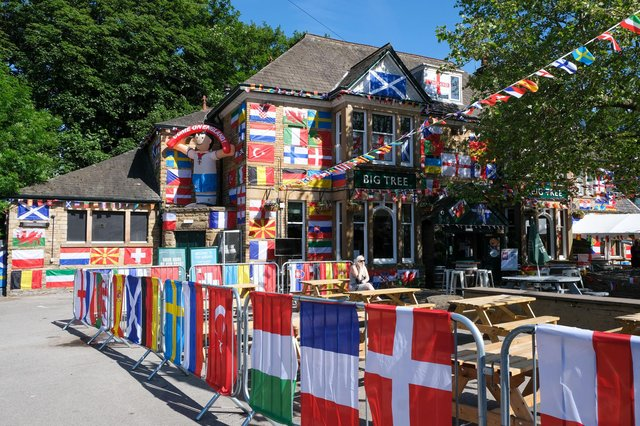 Greene King have decorated the whole outside areas of The Big tree in Sheffield in preparation for the start of The Euros this weekend.