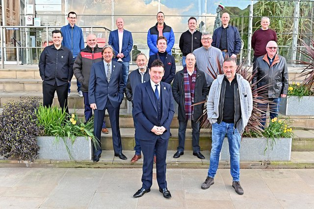 The 16 players competing in the World Senior Snooker Championship at The Crucible. Photo: Andy Chubb.