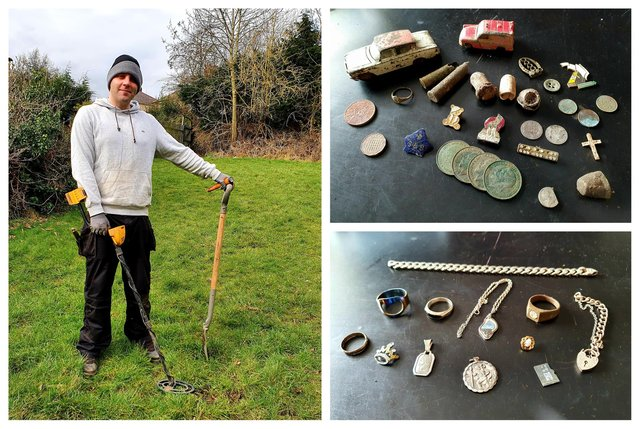 Nick Barrett with some of the items he has found using his metal detector in Sheffield