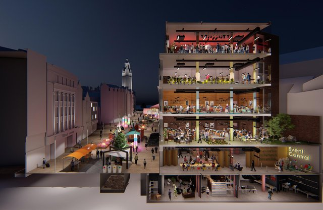 'Event Central' building and Fargate following a proposed £15m revamp. Image from the University of Sheffield.