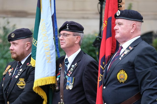 A smaller armed forces day celebration was held in Sheffield's Peace Gardens under COVID rules