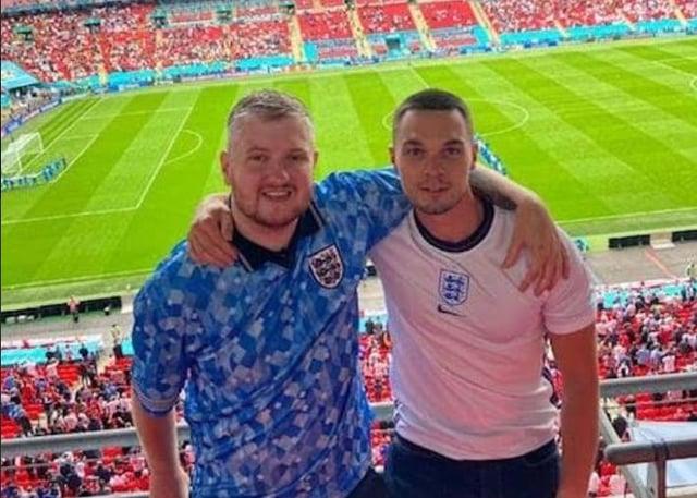 Charlie Hobson and David Higginbottom at the England v Germany game