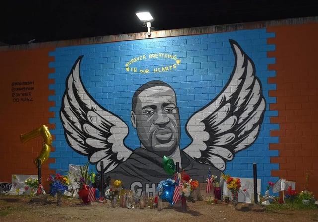 A mural in America in tribute to murdered George Floyd.