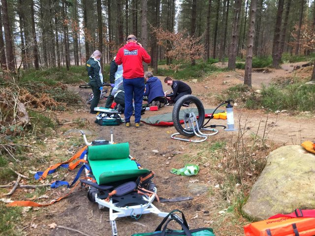Rescuers attending the incident in Grenoside Woods.