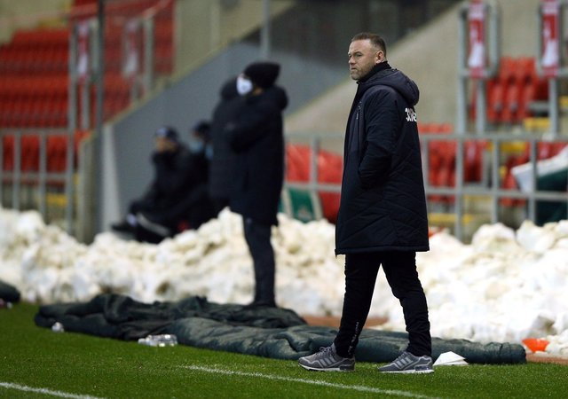 Derby County manager Wayne Rooney accused Rotherham United of being disrespectful following his side's defeat to the Millers at the at the AESSEAL New York Stadium last night. Photo: Nigel French/PA Wire.