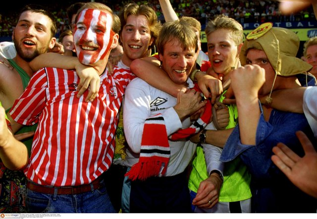 Dave Bassett - Sheffield United manager celebrates with the fans after winning promotion in 1990