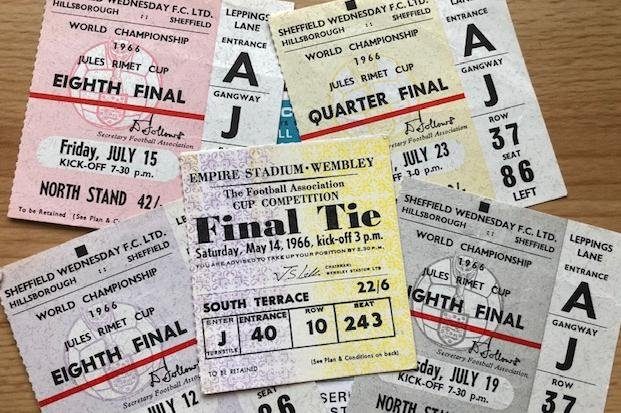 Pictured are World Cup 1966 ticket stubs from Group B matches held at Sheffield Wednesday FC's Hillsborough Stadium and from the Final at London's Wembley Stadium.