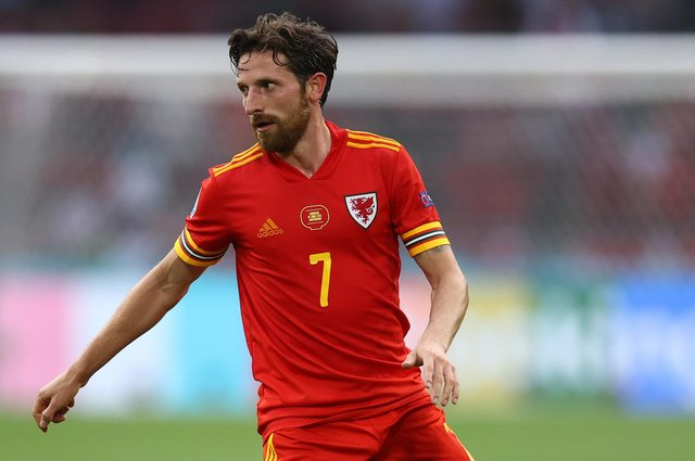 AMSTERDAM, NETHERLANDS - JUNE 26: Joe Allen of Wales in action during the UEFA Euro 2020 Championship Round of 16 match between Wales and Denmark at Johan Cruijff Arena on June 26, 2021 in Amsterdam, Netherlands. (Photo by Dean Mouhtaropoulos/Getty Images)