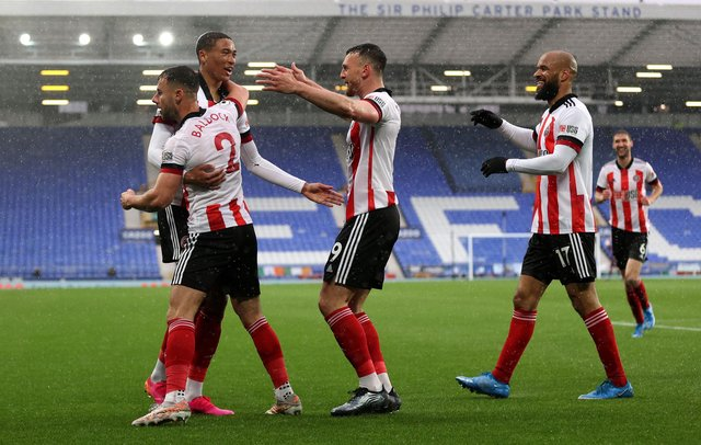 Sheffield United's Daniel Jebbison celebrates after scoring his sides first goal during the Premier League match at Goodison Park, Liverpool.   Alex Pantling/PA Wire.