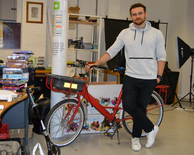 Emmaus Sheffield e-commerce coordinator Joe Morgan with some of the stock