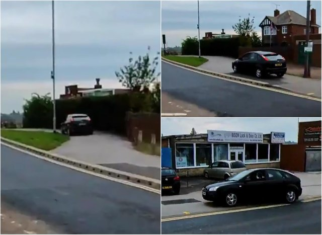 A dangerous driver was captured on camera mounting a pavement to avoid queuing at traffic lights