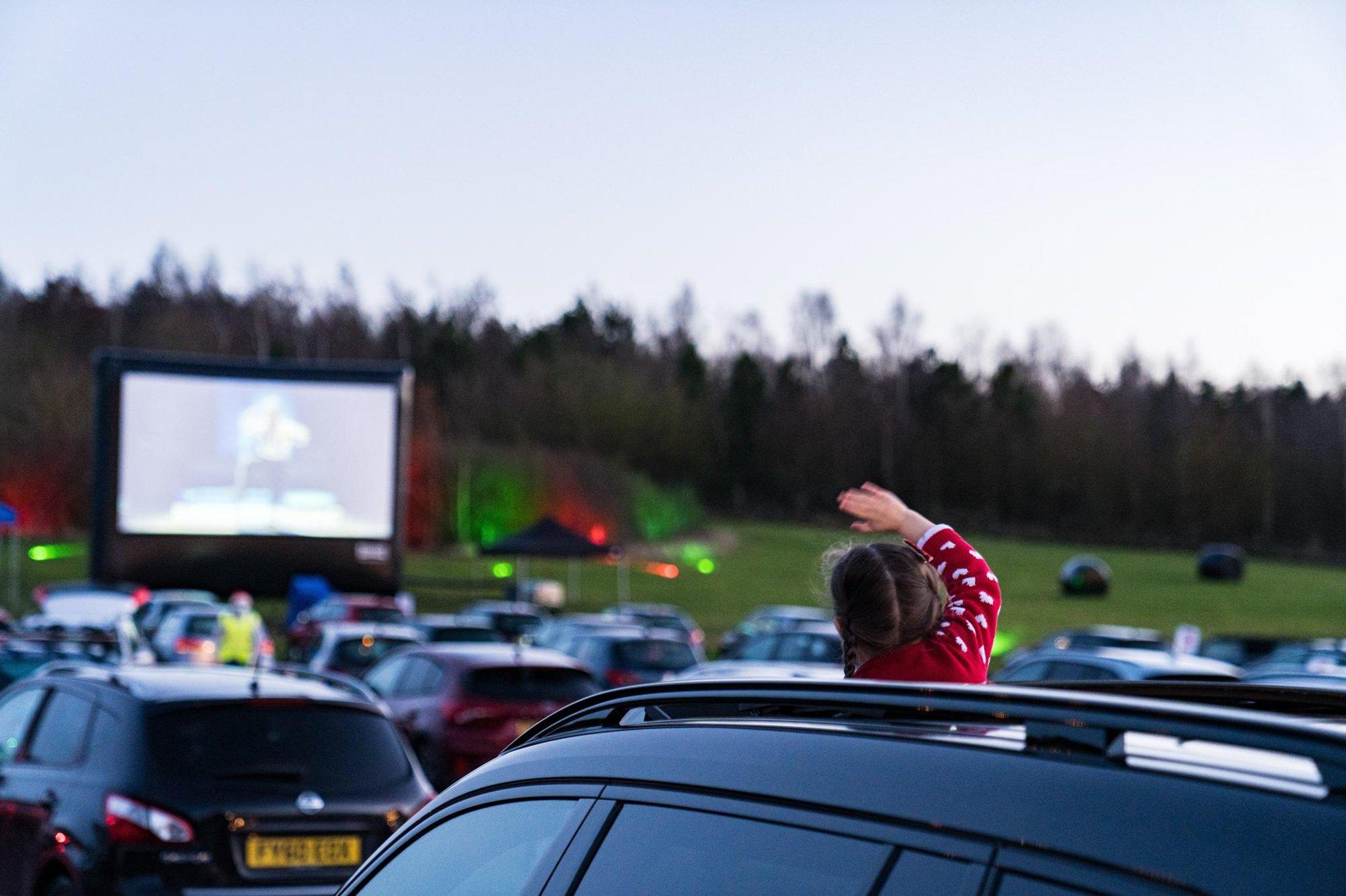 Socially distanced film fun at drive-thru cinema in...