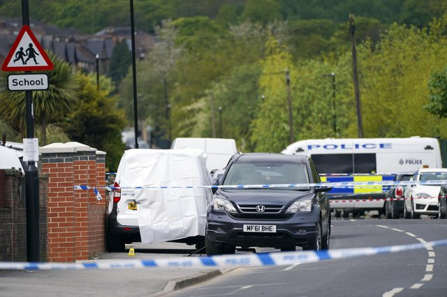 Police incident Earl Marshall Road in Sheffield. Picture Scott Merrylees