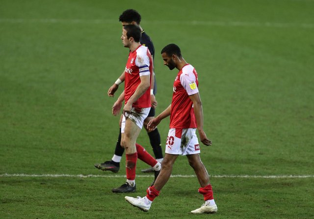 Rotherham United's Richard Wood and Michael Ihiekwe react after the final whistle during the Sky Bet Championship match at AESSEAL New York Stadium, Rotherham.   Richard Sellers/PA Wire.