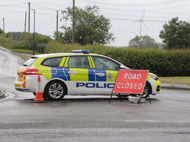 Police closed roads at the scene near to Chesterfield.
