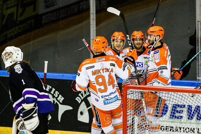 Joy for Steelers after scoring against Manchester.  Pic by Mark Ferriss.