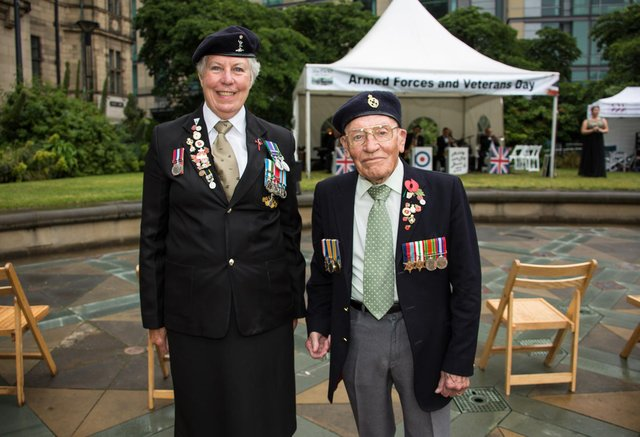 Roy Ashton and Gwyneth Wilkson at Armed Forces Day Peace Gardens