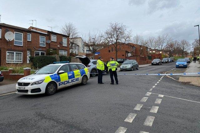 Police officers dealing with an incident in Burngreave last year