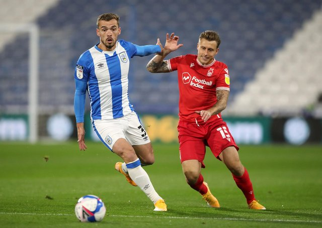 Luke Freeman, on loan from Sheffield United to Nottingham Forest, in action during the Reds' 1-0 defeat to Huddersfield Town on Friday evening. Photo: Nick Potts/PA Wire.