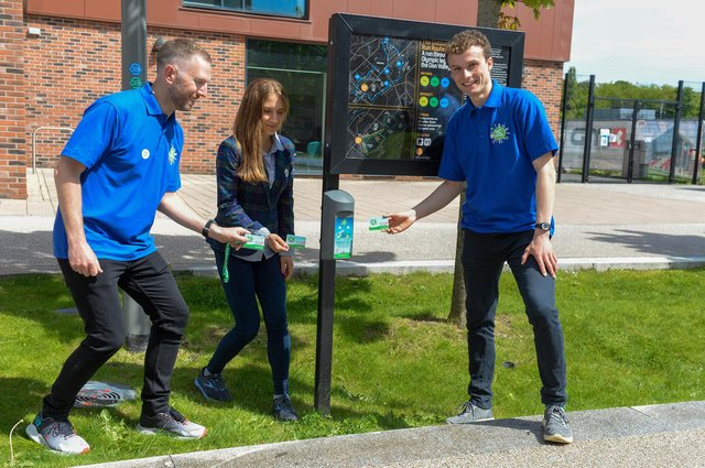 Local engagement coordinators Alasdair Menmuir, Natalie Grinvalds and Daniel Neath are the first to tap the Beat Box in the Beat the Street Sheffield game