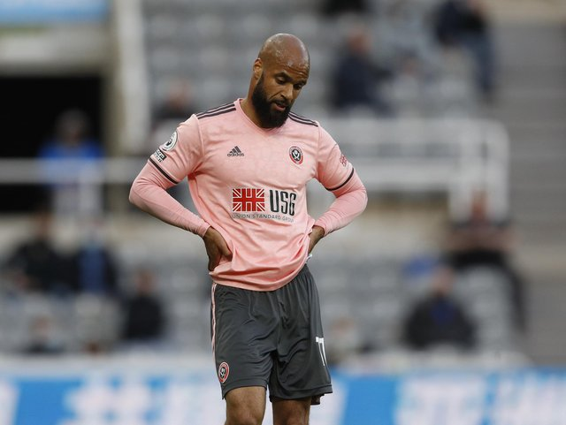 Newcastle, England, 19th May 2021. David McGoldrick of Sheffield Utd disappointed  during the Premier League match at St. James's Park, Newcastle. Picture credit should read: Darren Staples / Sportimage