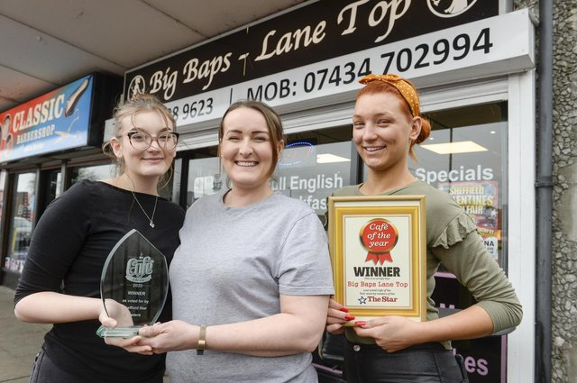 Olivia, Lisa and Olivia at Big Baps, Lane Top, winners of the Star Cafe of the Year
