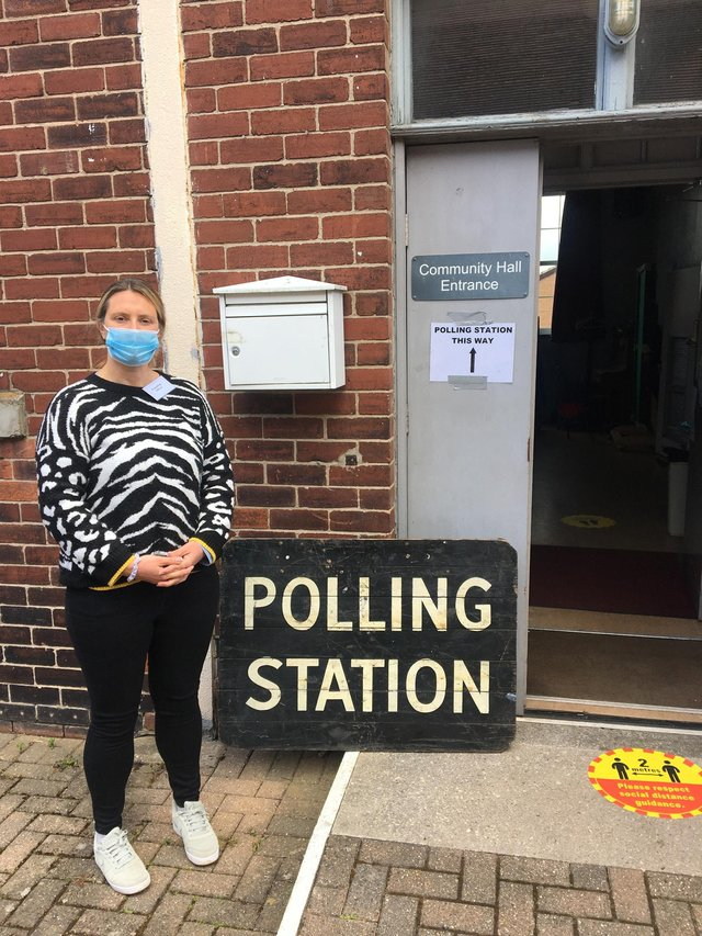 Outside the polling station.