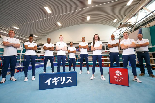From Left to Right - Rob McCracken, Caroline Dubois, Cheavon Clarke, Charley Davison, Halal Yafai, Ben Whittaker, Karriss Artingstall, Frazer Clarke, Lauren Price and Mike Hay of Great Britain pose for a photo to mark the official announcement of the boxing team selected to Team GB for the Tokyo 2020 Olympic Games at GB Boxing English Institute of Sport on June 23, 2021 in Sheffield, England. (Photo by Barrington Coombs/Getty Images for British Olympic Association)